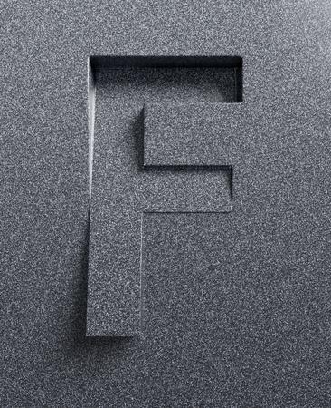 Letter F slanted 3d font engraved