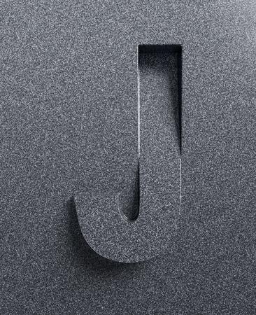 Letter J slanted 3d font engraved