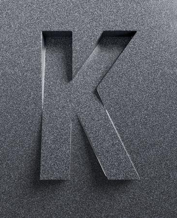 Letter K slanted 3d font engraved