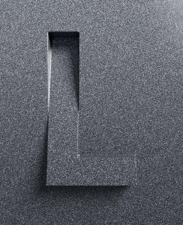 Letter L schuine 3d lettertype gegraveerd Stockfoto
