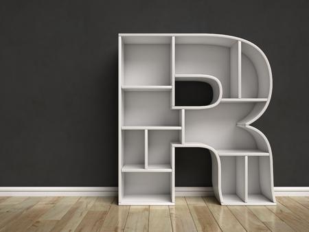 Letter R shaped shelves