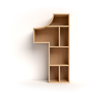 Number 1 shaped shelves Stock Photo