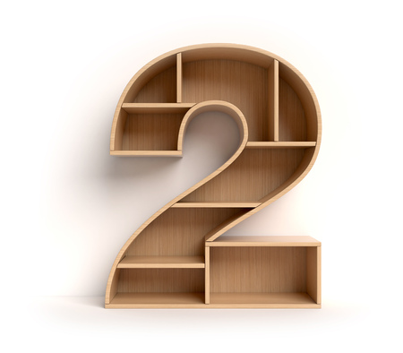 Number 2 shaped shelves Standard-Bild