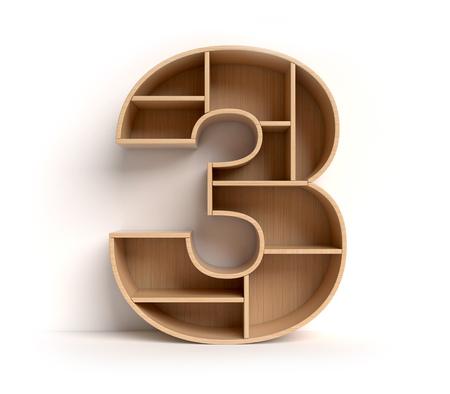 Nummer 3 geformte Regale Standard-Bild - 85541989