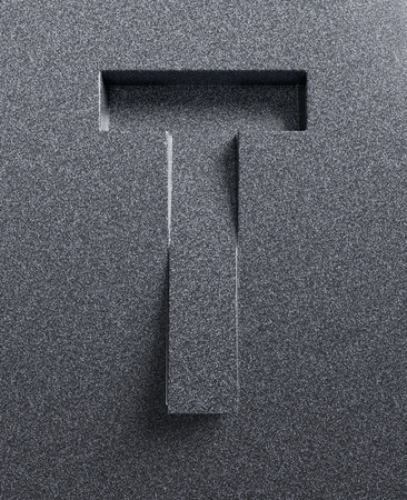 Letter T slanted 3d font engraved Stock Photo