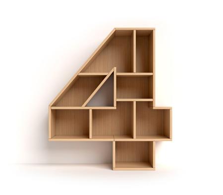 Number 4 shaped shelves Standard-Bild