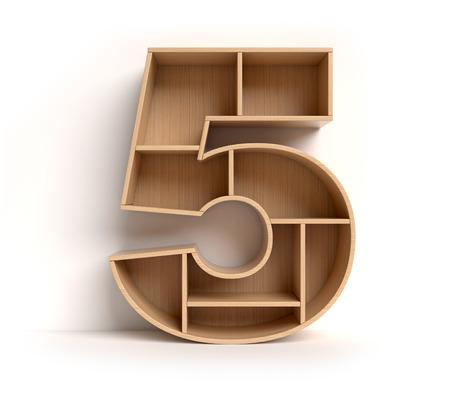 Number 5 shaped shelves Standard-Bild