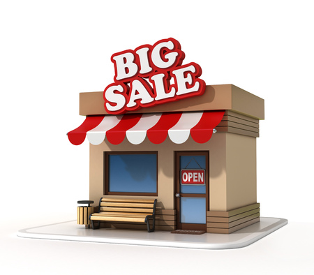 small business: Big sale mini store  on a white background 3d rendering Stock Photo