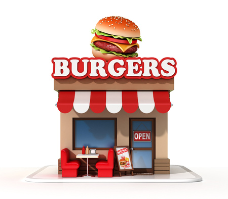 Burger mini store on a white background 3d rendering