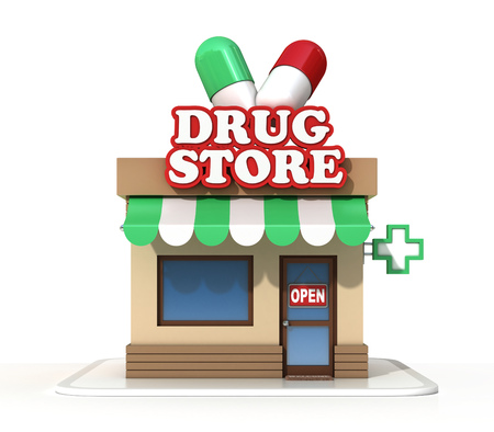 small business: Drugstore on a white background 3d rendering Stock Photo