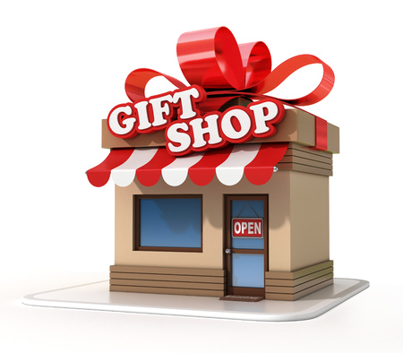 small business: Gift shop mini store on a white background 3d rendering Stock Photo