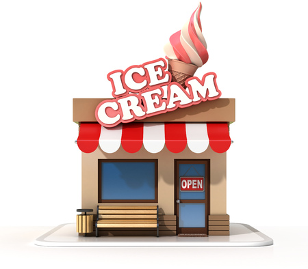 Ice cream store  on a white background 3d rendering