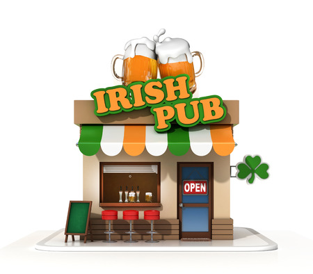 Irish pub on a white background 3d rendering Stock Photo