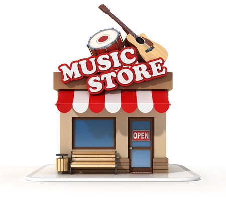 Music store shop front on a white background 3d rendering