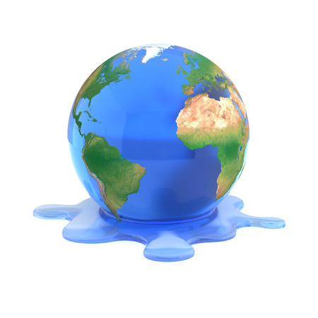global warming 3d concept - melting earth