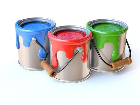 Paint cans 3d rendering