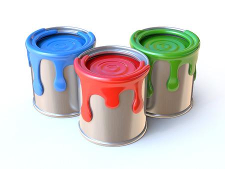 paint can: Paint cans 3d rendering
