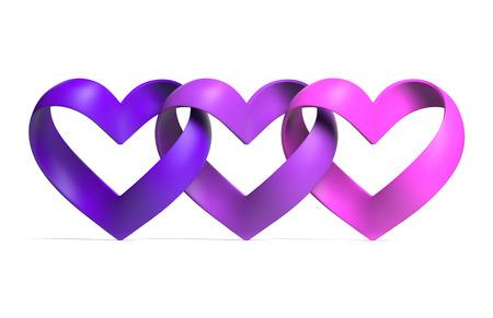 heart shape ribbon 3d illustration