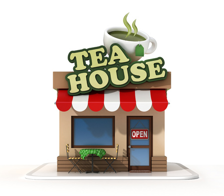 Tea house store front 3d rendering