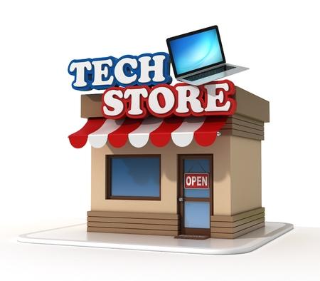 communication cartoon: Tech store shop front Stock Photo