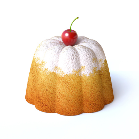 Lemon cake with icing sugar and cherry on top isolated on white