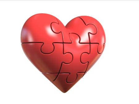 Puzzle heart 3d rendering Stock Photo