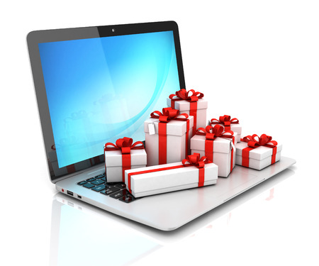 digital background: Gift boxes on laptop 3d rendering
