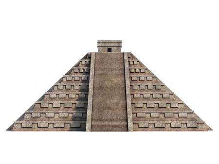civilisation: Mayan pyramid isolated on white Stock Photo