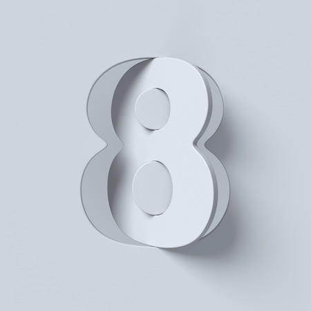 Cut out and rotated font 3d rendering number 8