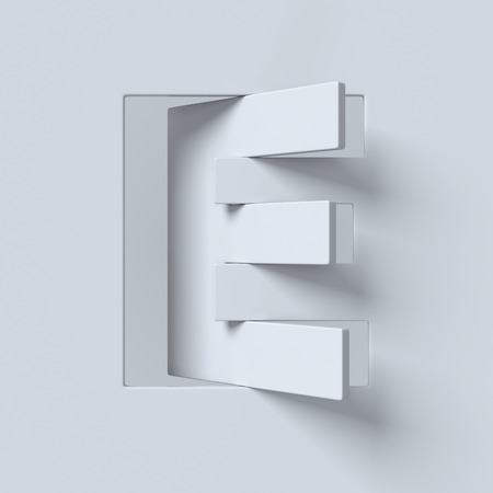 slant: Cut out and rotated font 3d rendering letter E Stock Photo