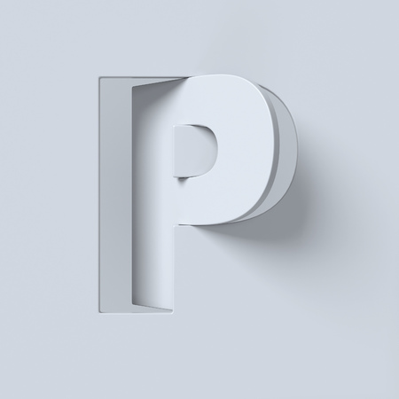 slant: Cut out and rotated font 3d rendering letter P