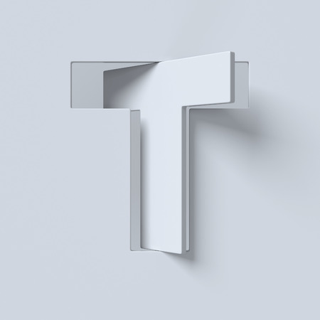 slant: Cut out and rotated font 3d rendering letter T