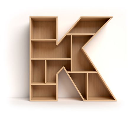 Shelf font 3d rendering letter K