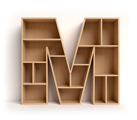 book: Shelf font 3d rendering letter M