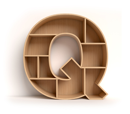 furniture store: Shelf font 3d rendering letter Q Stock Photo
