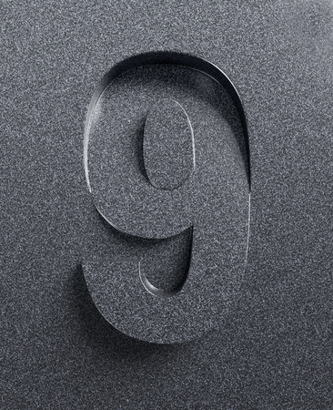 slanted: Number 9 slanted 3d font engraved and extruded from background