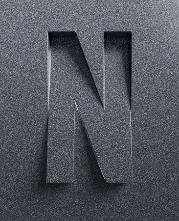 slant: Letter N slanted 3d font engraved and extruded from background