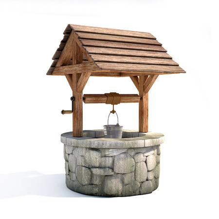 Water well on a white background 3d rendering Stock Photo
