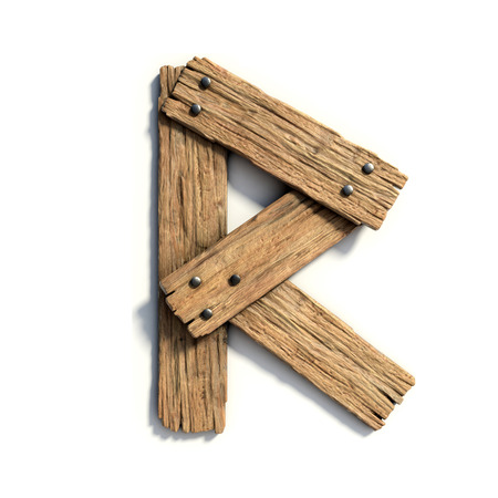 Wood font, plank font letter  R 스톡 콘텐츠