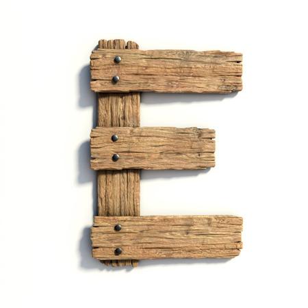 木製のフォント、フォント文字 E を板