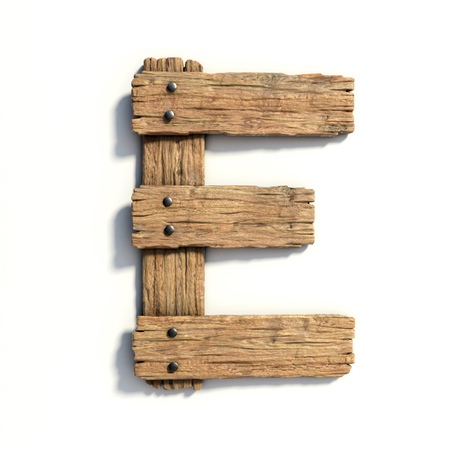 Wood font, plank font letter  E