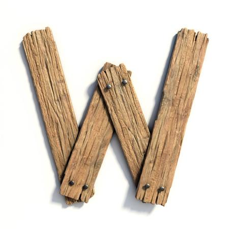 목제 글꼴, 판자 글꼴 문자 W