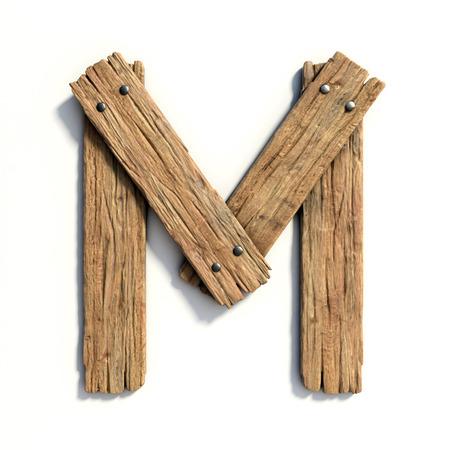 Wood font, plank font letter M