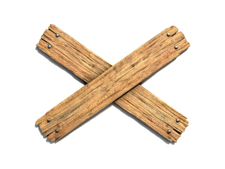 Two crossed wooden planks nailed on white background 3d rendering Reklamní fotografie - 89059740