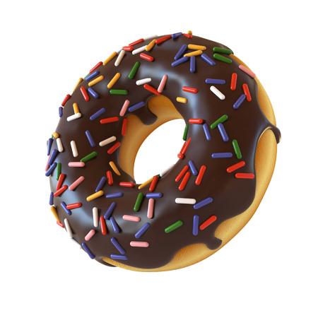 Donut au chocolat ou donut rendu 3D Banque d'images - 89059564