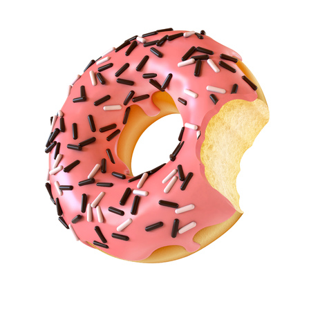 Glazed donut or doughnut with bite missing 3d rendering