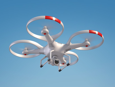 Flying drone 3d rendering isolated  illustration