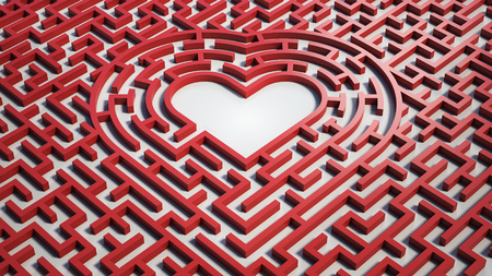 Heart maze, 3d isolated illustration