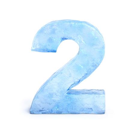 Ice font 3d rendering, number 2 Standard-Bild