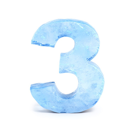 Ice font 3d rendering, number 3